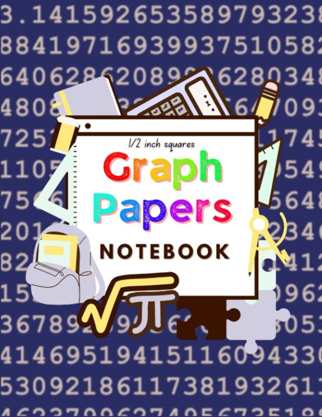 Graph Notebook Number Pi Cover: Math Graph Papers Squared ½ Inch