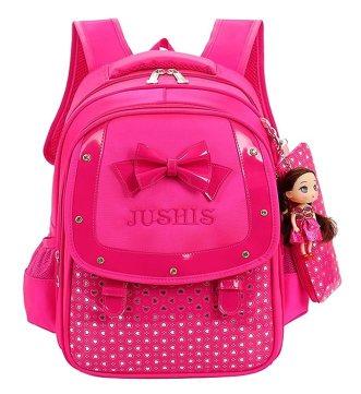 Fanci Cute Bowknot Kids Backpack Sweet princess doll Waterproof Primary School Book bag with pencil case