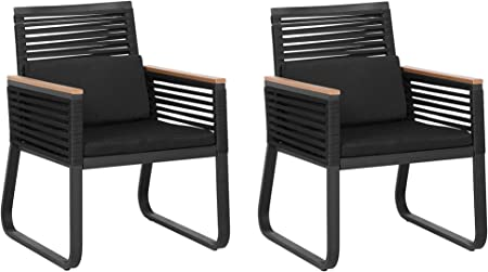 Beliani Set Of 2 Modern Outdoor Garden Dining Chairs Black Metal Polyester Set Pad Canetto Beliani Amazon Co Uk Kitchen Home