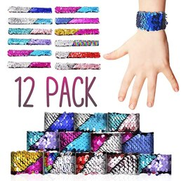 BucciLife Birthday Party Favors for Kids Slap Bracelets for Girls, Boys, Toddlers, Men and Women - Mermaid Color Sequins Reversible Two-Color 12pcs Toy Led Charm Bracelet 12 Designs