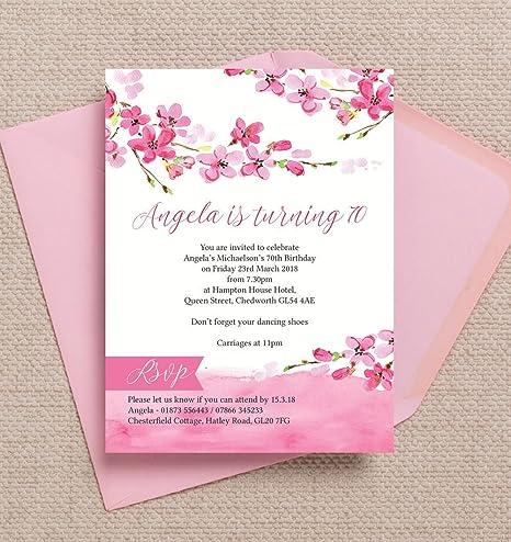 Personalizzato Cherry Blossom Compleanno Inviti Con Buste