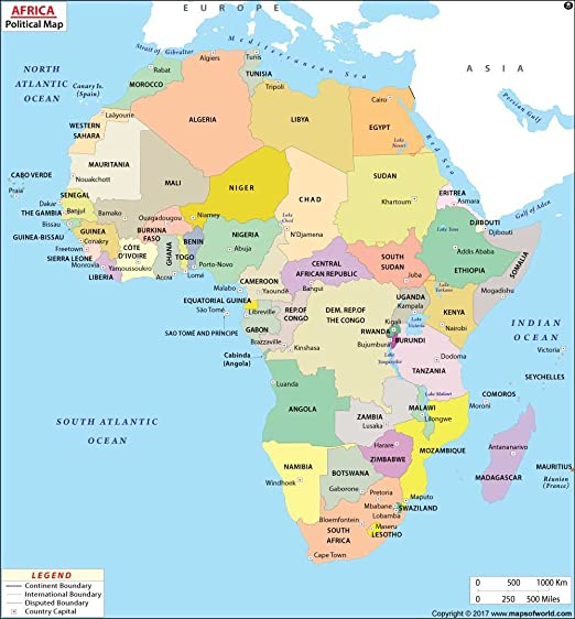 Amazon Com Africa Political Map 36 W X 38 8 H Office Products