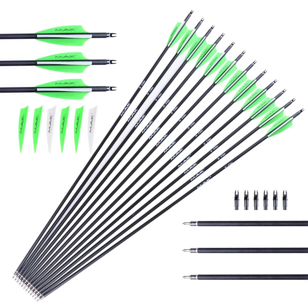 M.A.K 20″ Crossbow Bolts Carbon Arrow Hunting Archery