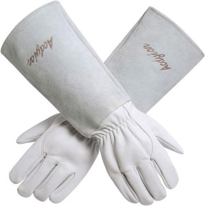 Gardening Gloves for Women/Men – Acdyion Rose Pruning Thorn & Cut Proof Long Forearm Protection Gauntlet, Durable Thick Cowhide Leather Work Garden Gloves (Medium, White)