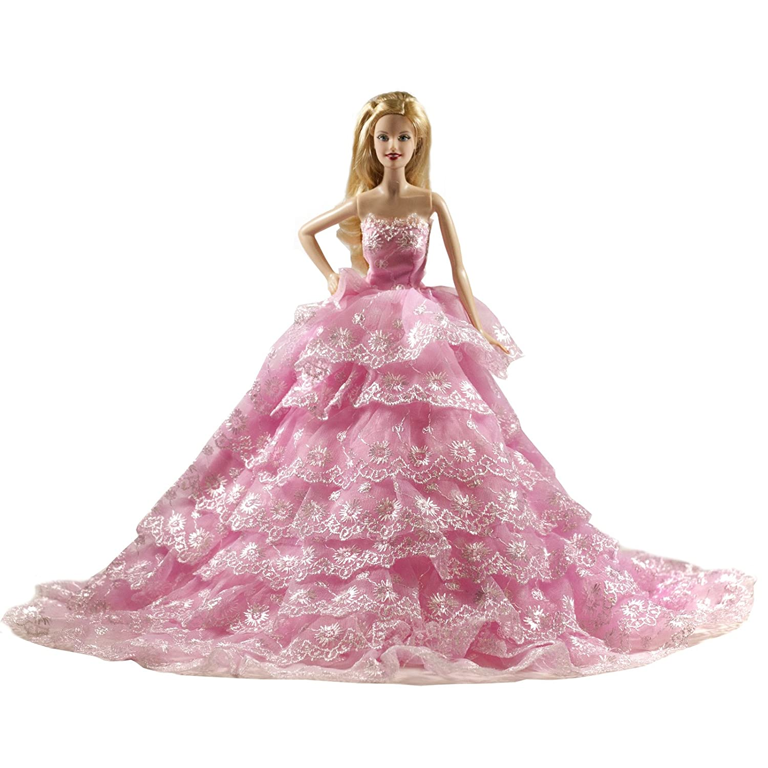 Barbie Romantic Ball Gown Strapless Layers of Organza Pink Wedding Dress