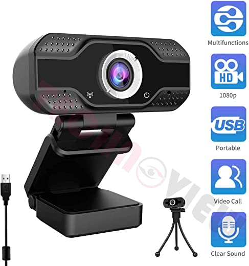 TECHNOVIEW Webcam 1080P Full HD with Inbuilt Microphone Auto Focus, Web Camera for Computer/PC/Laptop, Work and Study Online Video Audio Smooth Streaming, Video Calling/Conferencing Video Recording