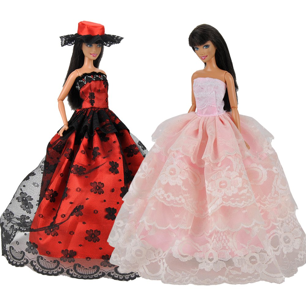 Beautiful Gown for Dolls, 2 pcs Handmade set of Clothes Party Dress Ball Dress Red and Pink for Barbie Doll