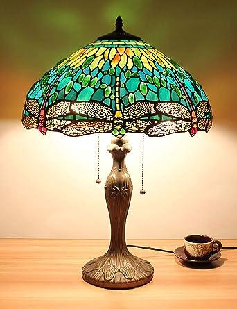 16 Pollici Verde Libellula Gioielli Pastorale Minimalista Stile Lampada Da Tavolo Lampada Da Comodino Lampada Da Tavolo Soggiorno Bar Lampada