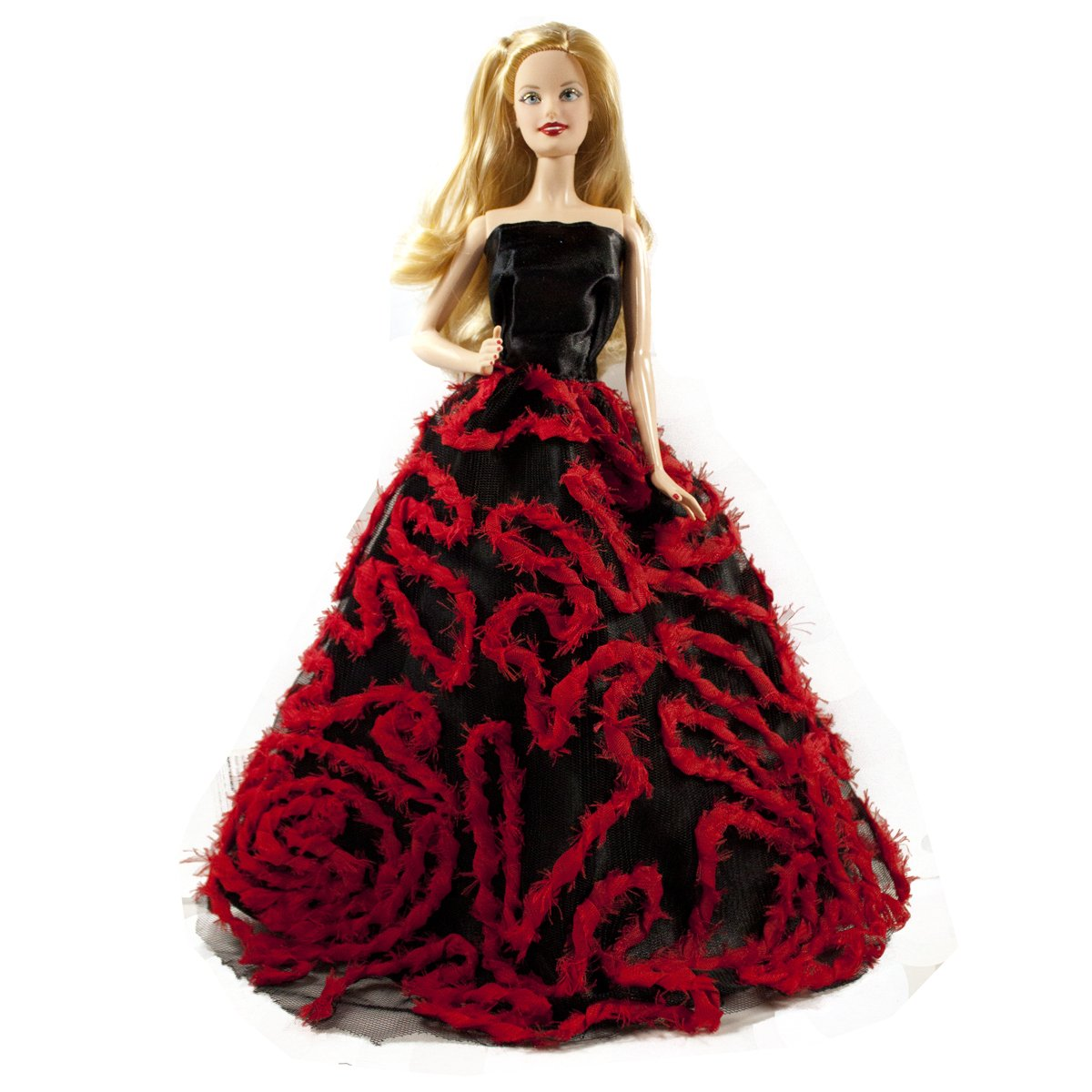 Black & Red Ball Gown Dress for Barbie Doll