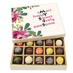 Chocholik Rakhi Gift Box – Smarty Happy Sweet Lovely Awesome – Dark, Milk, White Chocolate Truffles – 9pc