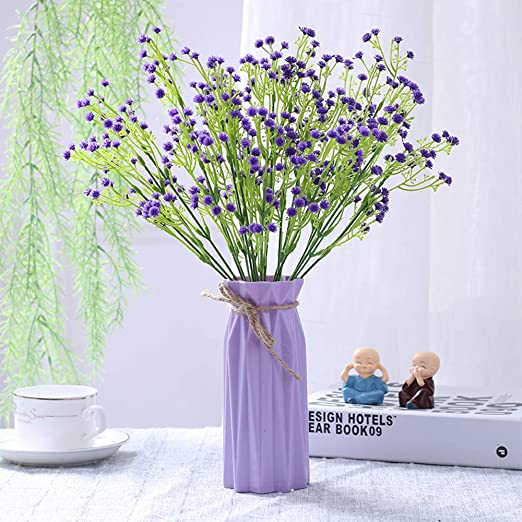 Amazon Com Nadalan Artificial Flower Arrangements Bulk With Vase Fake Purple Gypsophila Silk Plastic Flowers For Home Decor Desk Garden Party Wedding Decoration Purple Gypsophila Home Kitchen