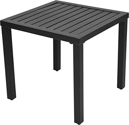 Amazon Com Emerit Outdoor Metal Square Patio Bistro Side End Table Black Garden Outdoor