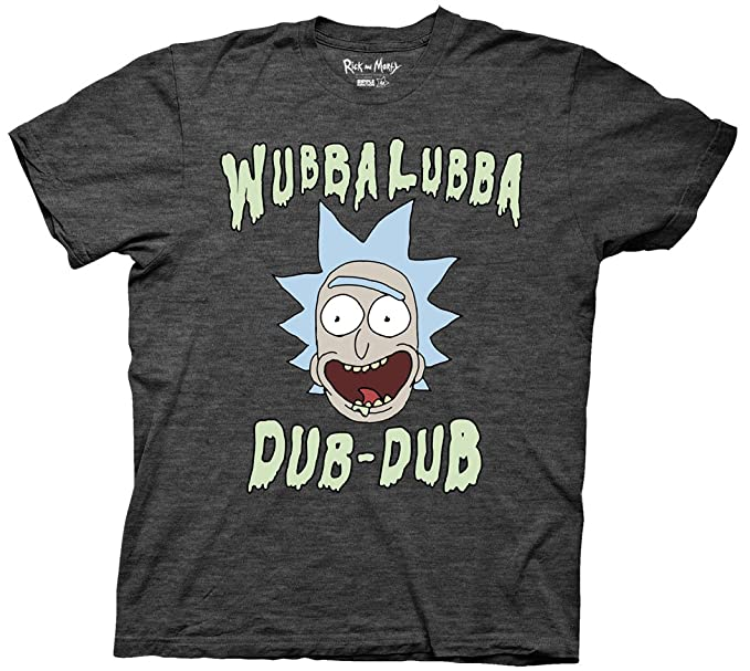 Ripple Junction Rick and Morty Wubbalubba Dub-Dub Mens Charcoal Heather T-Shirt XXL
