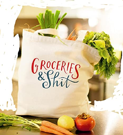 Emily McDowell Shopping Tote Bag Book Canvas Reusable gift GROCERIES & SH*T