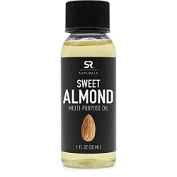 Sweet Almond Oil by SR Naturals ~ 100% Natural Oil for Hair, Skin, Scalp and Aromatherapy … (1oz)