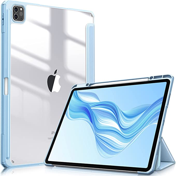 """Fintie Hybrid Slim Case for iPad Pro 12.9-inch 5th Generation 2021 - [Built-in Pencil Holder] Shockproof Cover with Clear Transparent Back Shell, Also Fit iPad Pro 12.9"""" 4th/3rd Gen (Blue)"""