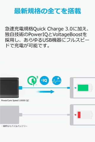Anker PowerCore Speed 10000 QC 急速充電 Quick Charge 3.0