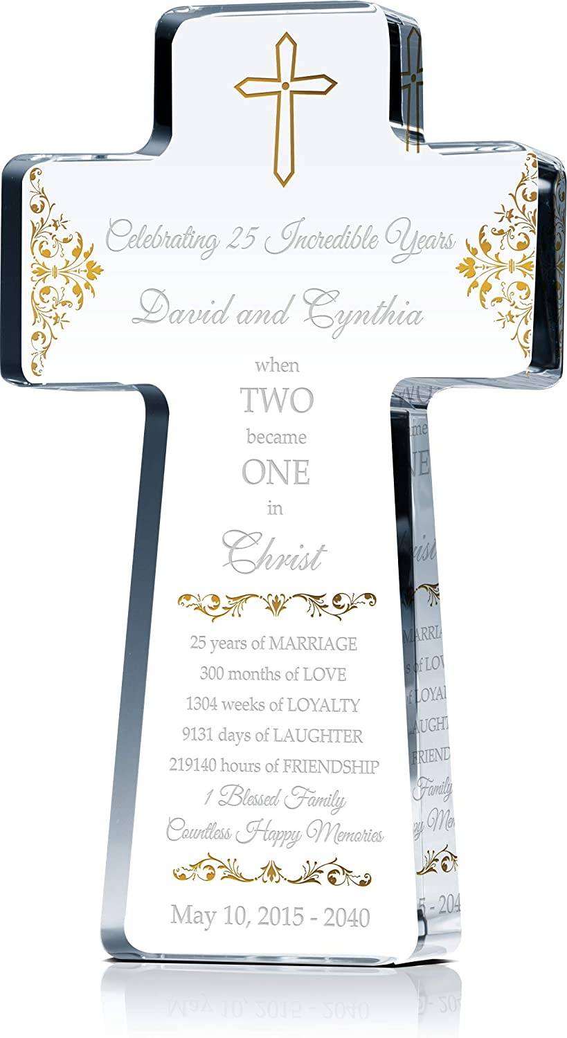 Amazon Com Personalized Christian Gift For 25 Year Wedding Anniversary Crystal Standing Cross Customized With Couple Names And Religious Anniversary Wishes In Traditional Silver Anniversary Color S 8 Home Kitchen