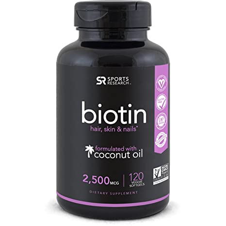 Biotin (2500mcg) with Organic Coconut Oil; Supports Hair Growth, Glowing Skin and Strong Nails ~ 120 Veggie Softgels