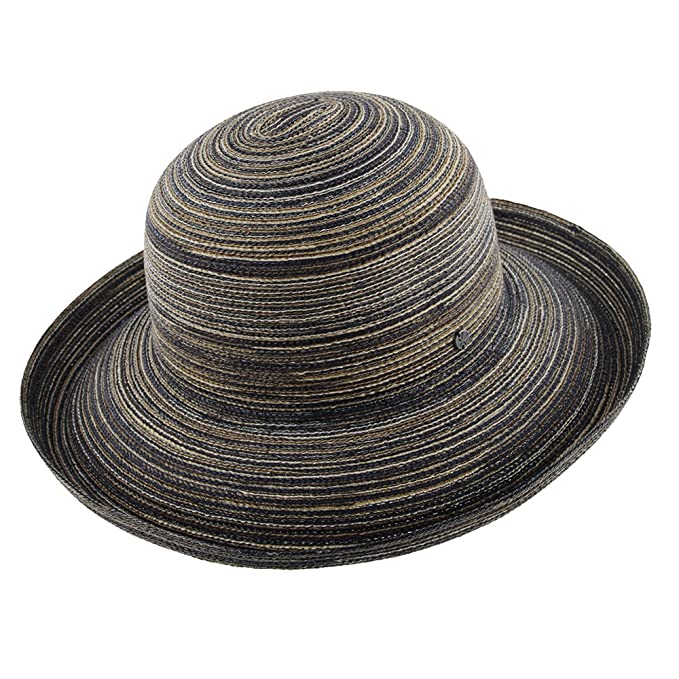 Womens Wide Brim Sun Protection Sun Hat In Stripe Chocolate