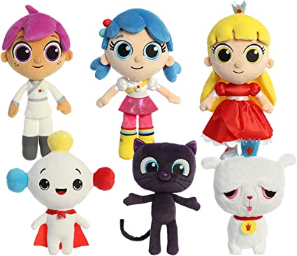 Amazon Com Aurora True And The Rainbow Kingdom Main Character Complete Plushie Set True Bartleby Grizelda Frookie Zee Rainbow King And Drawstring Bag Toys Games