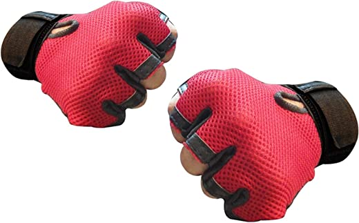 5 O'CLOCK Sports Leather Gym Gloves for Men with Wrist Support Band for Weight Lifting and Exercise Red Color