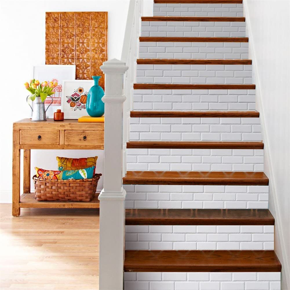Amazon Com 3D Brick Stone Stair Decals Stickers Grayish White | White And Wood Stairs | Non Slip | Foyer | Simple | Solid Wood | Indoor