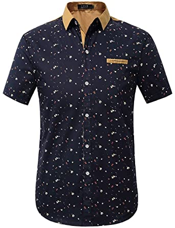 Image result for SSLR Men's Printing Pattern Button Down Casual Short Sleeve Shirts