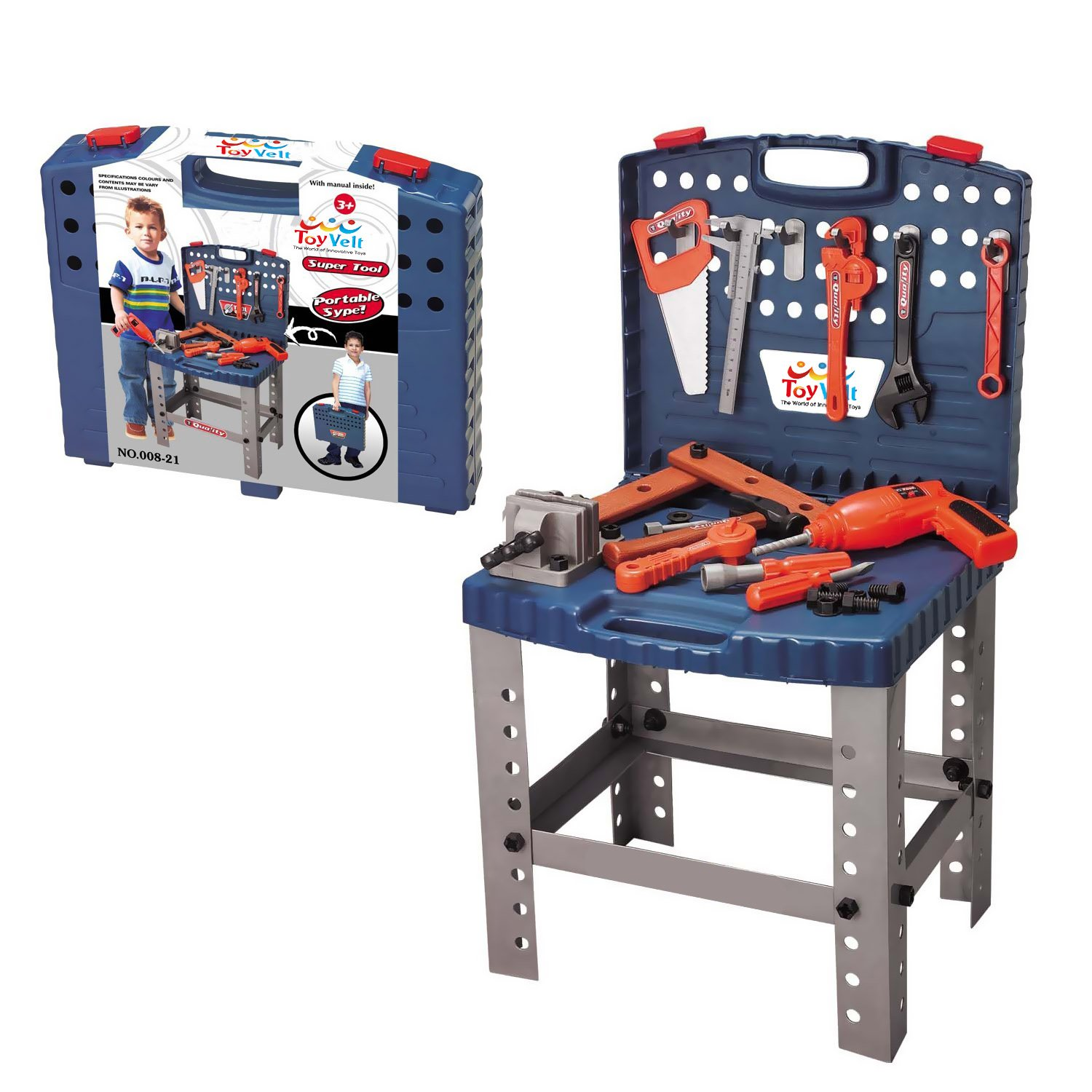 68 Piece Workbench W Realistic Tools & ELECTRIC DRILL for Construction Workshop Tool Bench