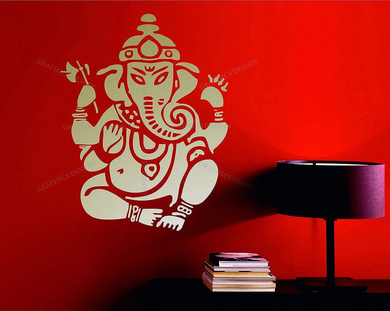 Amazon Com Wall Vinyl Decals Lord Ganesh Vinayaka Ganesha Ganapati Hindu God Mantra Aum Sanskrit Decorative Vinyl Wall Art Sticker Decal Made In Usa Home Kitchen