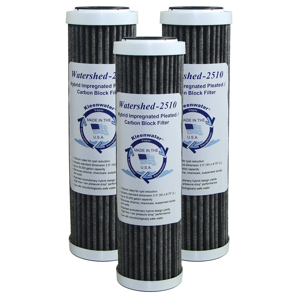 KleenWater Watershed2510 Hybrid Pleated / Carbon Block Whole House Water Filters