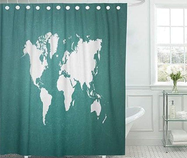 Emvency Waterproof Fabric Shower Curtain Hooks White Green Blackboard World Map Outline Of From Nasa Public