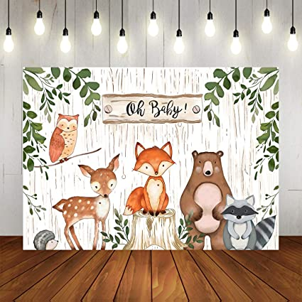 Amazon Com Woodland Baby Shower Backdrop Jungle Animals Theme Banner Happy Birthdays Party Decorations For Kids 7x5ft Camera Photo