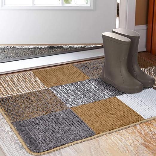 Amazon Com Indoor Doormat 23 X 35 Absorbent Front Back Door Mat Floor Mats Rubber Backing Non Slip Door Mats Inside Mud Dirt Trapper Entrance Front Door Rug Carpet Machine Washable Low Profile Brown Lattice