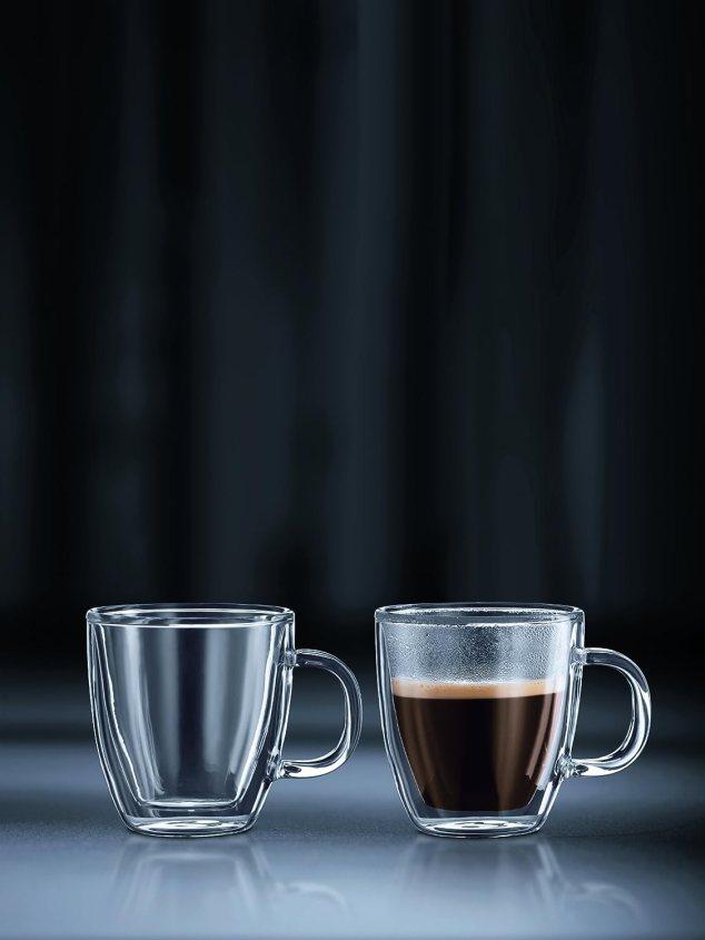 URAQT 2個セットダブルウォールグラス カップ 容量 250ml 耐熱性 紅茶、コーヒー、ラテ、カプチーノ、ビール用