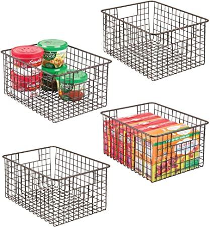 mDesign Farmhouse Decor Metal Wire Food Storage Organizer Bin Basket with Handles