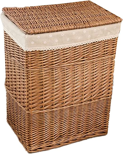 Amazon Com Xiuwu Home Straw Laundry Basket With Lining Bedroom Clothes Wicker Laundry Hampers With Caps Coffee Medium Home Kitchen