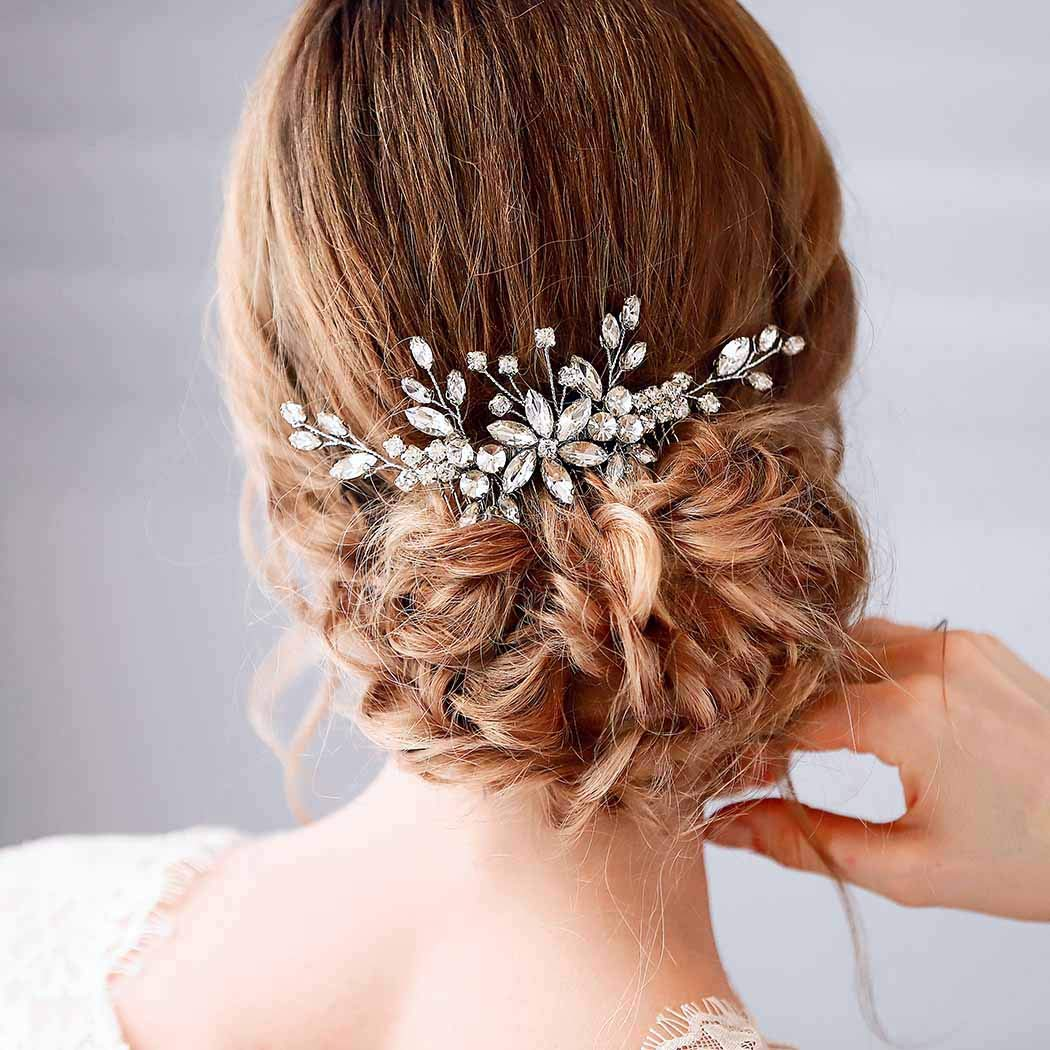Amazon Com Barode Bridal Wedding Hair Comb Silver Rhinestone Flower Bride Headpieces Leaves Hair Accessories Jewelry For Women And Girls Beauty