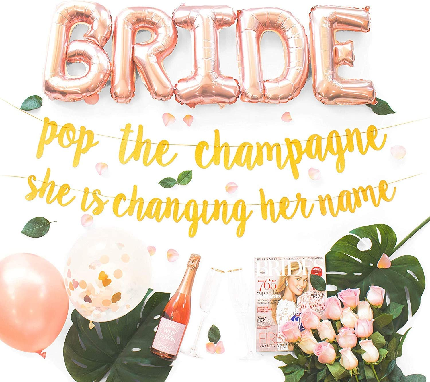 Amazon Com Bachelorette Party Decorations Kit Bridal Shower Supplies Bride To Be Sash Ring Foil Rose Balloons Glitter Banner Pop The Champagne She Is Changing Her Name Gold Arts Crafts
