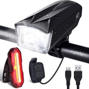 Ιταλικό Amazon | OMERIL USB Rechargeable Bicycle LED Lights with Remote Control and Horn, Super Bright IP65 Waterproof LED Bicycle Lights, Front and Rear Bike Light for Road and Mountain Bike, Black