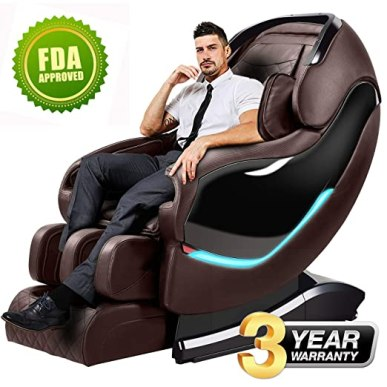 Massage Chair Recliner, SL-Track Zero Gravity, Full Body Shiatsu Electric Massage Chair with Tapping, Heating,Stretching, Swedish Massage Back and Foot Massagers (brown)