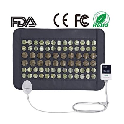 "UTK® Far Infrared Natural Jade&Tourmaline Heating Pad Mat for Pain Relief, Small Pro (23.5""X16"") with Smart Controller, Memory Function, Auto Shut Off Timing Setting [US FDA] Travel Bag Included"