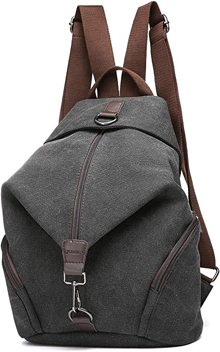 JOSEKO Casual Vintage Canvas Women Backpack, Ladies Large Capacity Travel Bag Women School Bag Black 10.63'' x15.35''x6.29''