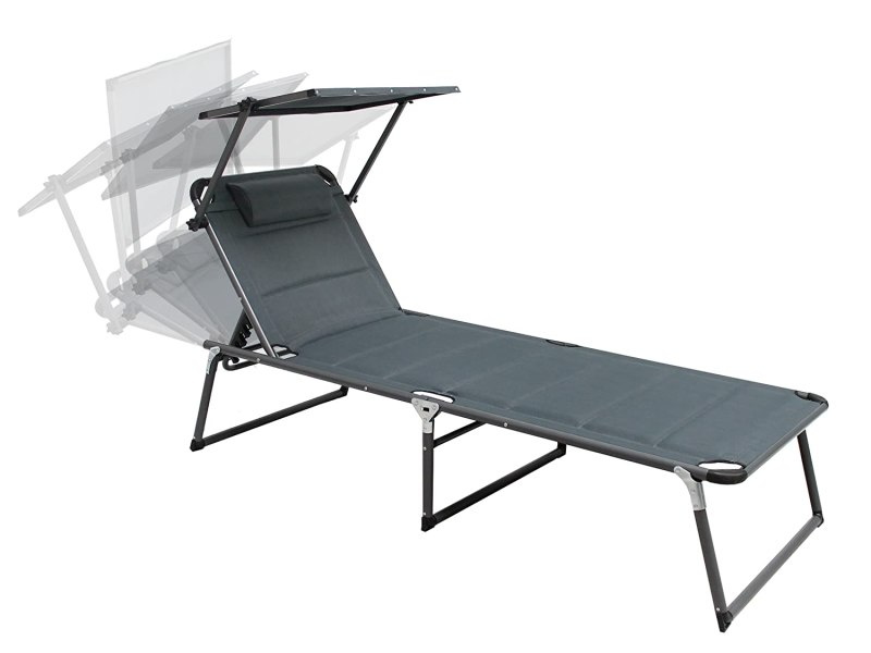 Trendy-Home24 Aluminium Sonnenliege Gartenliege XXL Alu Liege mit Dach Dreibeinliege Textilene grau anthrazit 200x70 cm bis 150kg Quick Dry Foam SSV