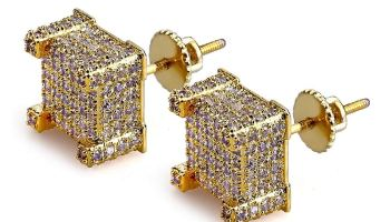 5f6366933 SENTERIA Iced Out Mens Earring Cubic Zirconia 925 Sterling Silver Cubist Screw  Back 18k Yellow Gold