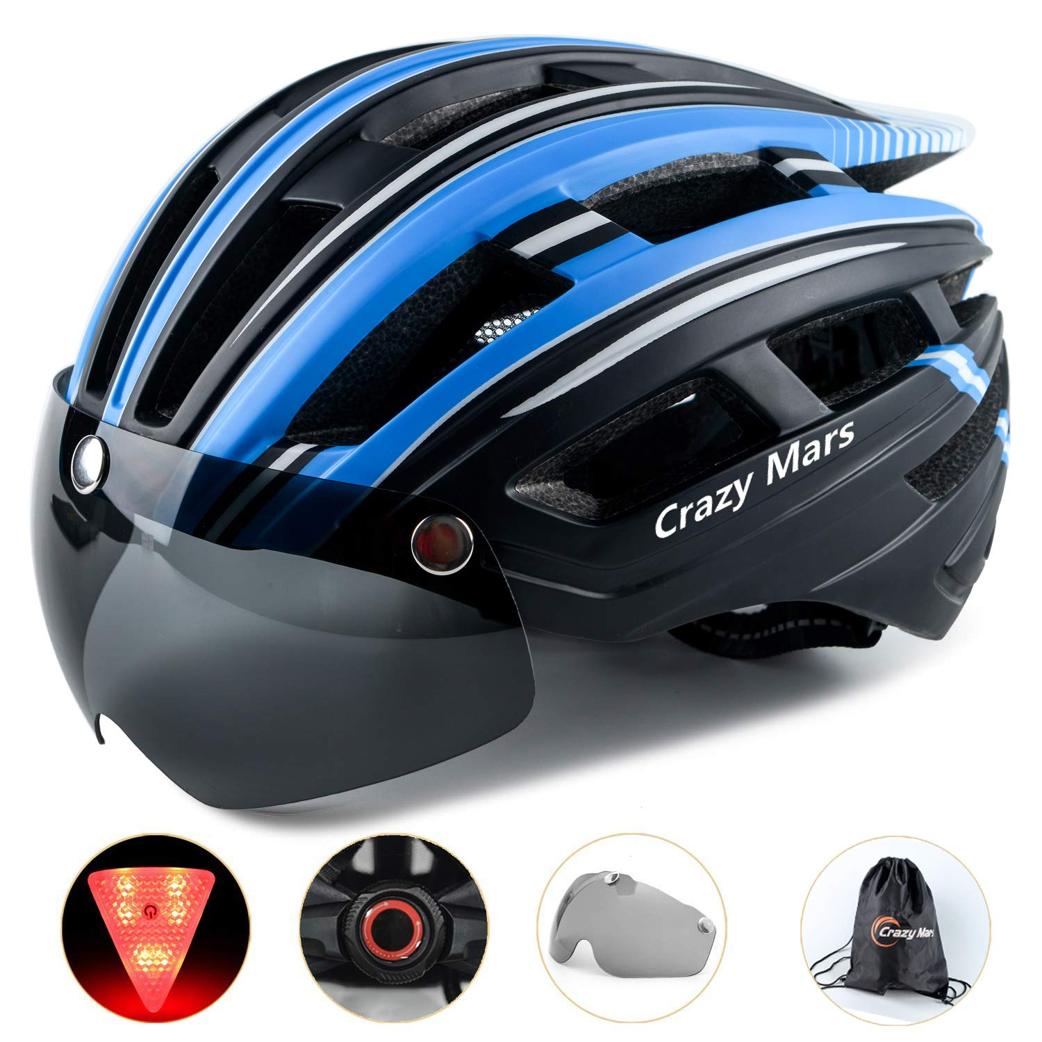 Crazy Mars Adult Bike Helmet with Light and Magnatic Goggle Visor Bicycle MTB BMX Helmet Men Women Adjustable