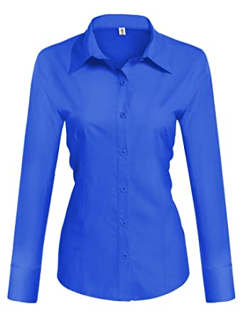 Image result for Hotouch Womens Basic Long Sleeve Cotton Simple Button Down Shirt