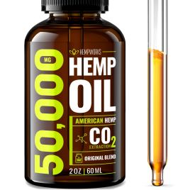 Hemp Oil 50000 MG EXTRA EFFICACY – Stress & Anxiety Relief – Made in The USA – 100% Natural & Safe Hemp Oil – Immune Support – Anti-Inflammatory & Joint Support – Ideal Omega 3, 6, 9 Balance