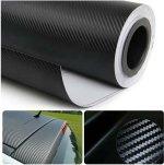 CVANU 3D Carbon Fiber Car Wrap Sheet Roll Film Sticker Decal (Vinyl, 24x60-inch, Black)