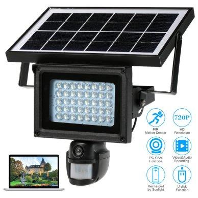 kkmoon 720p HD CCTV Sécurité DVR Solaire Lampe 40 LEDS IR Rue de Lampe Projecteur Enregistreur PIR Motion Détection énergie Solaire Charge Intégrée Lithium Batterie PC-CAM Carte TF de Soutien